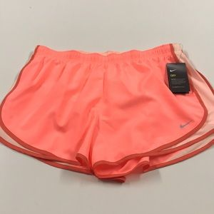 🆕 NIKE Womens Running Shorts Orange Peach 1X 2X